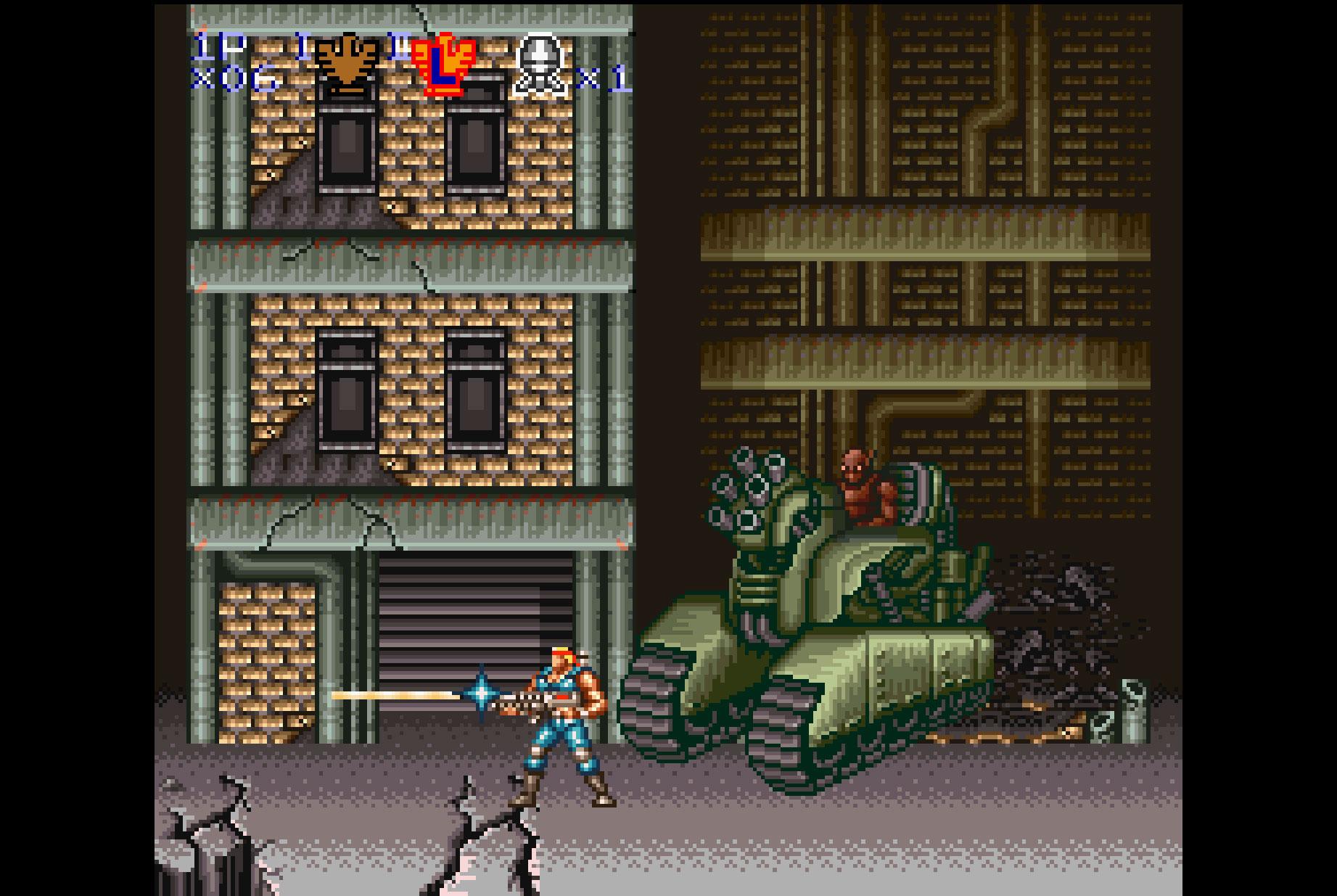 """War für viele Spieler der Grund, um sich ein SNES zu kaufen: das Spielhallen-reife """"Contra 3"""". In Europa wurde der """"Run & Gun""""-Klassiker unter dem Titel """"Super Probotector"""" und mit Robotern anstelle von Söldnern aus der Pixel-Muckibude verkauft."""