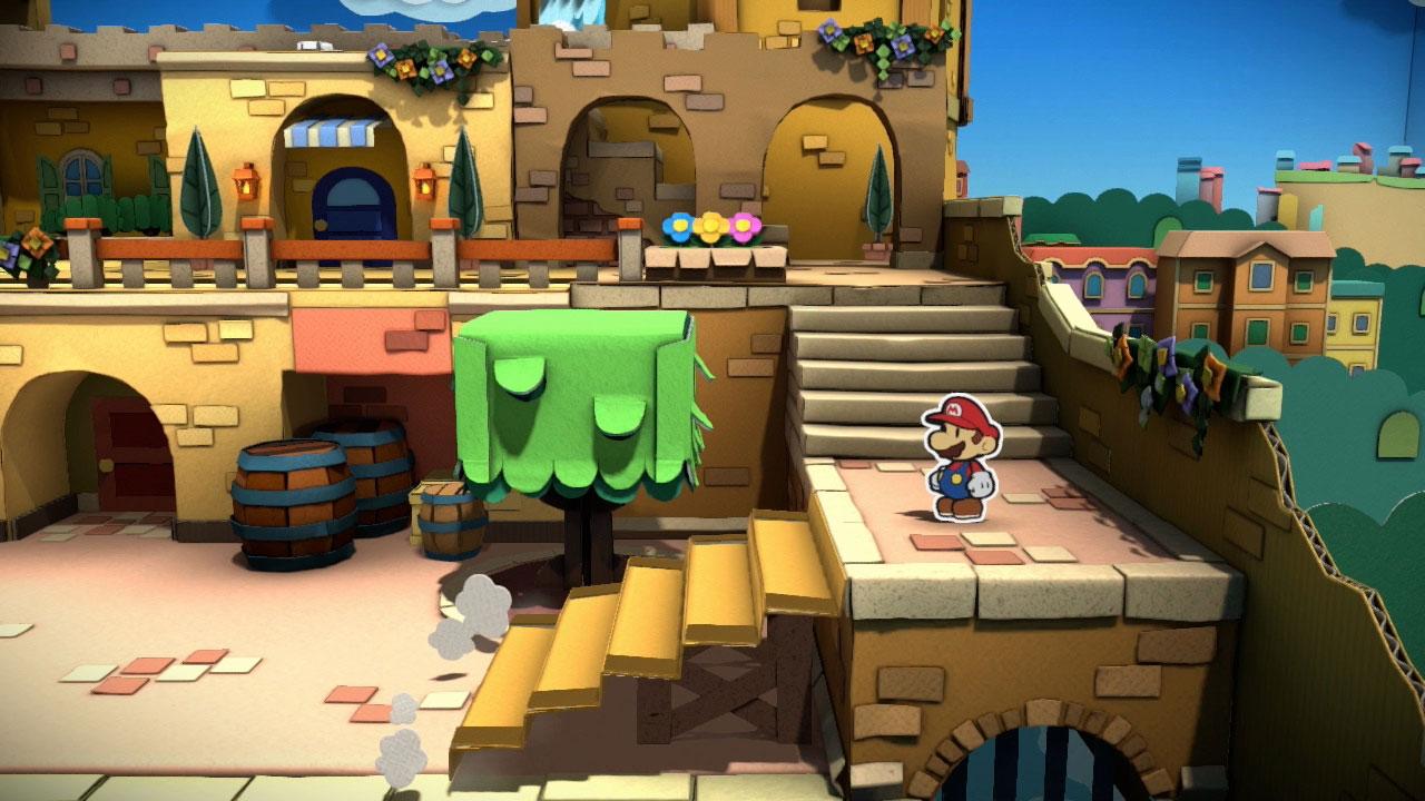 """In der jüngsten Inkarnation seiner """"Paper Mario""""-Reihe will Nintendos Hosenmatz eine schmucklose Insel wieder einfärben. Mit wuchtig-bunten Hammer-Hieben gent's durch """"Color Splash""""! (7.10. für WiiU)"""