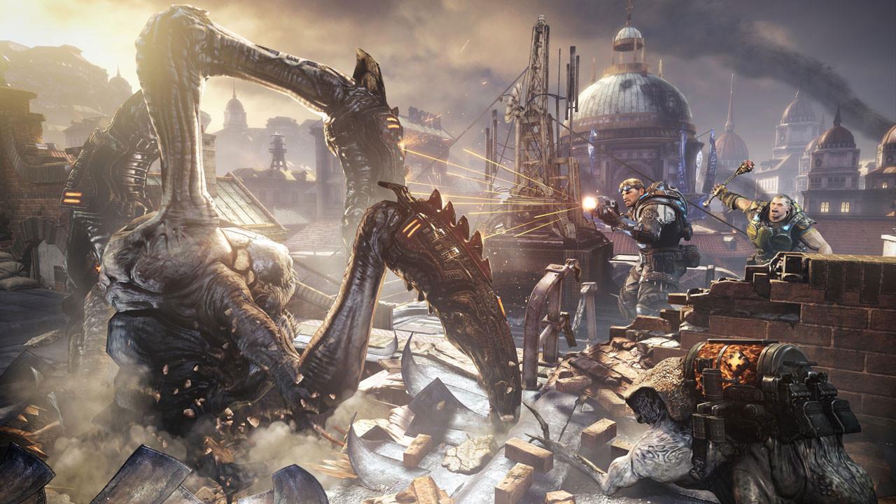 """Muss ein post-apokalyptisches Szenario unbedingt auf der Erde spielen? Nein: Der erdähnliche Planet Sera aus Epics Deckungs-Shootout """"Gears of War"""" wurde durch Ressourcen-Kriege und die Angriffe der monströsen Locust fast völlig verwüstet."""