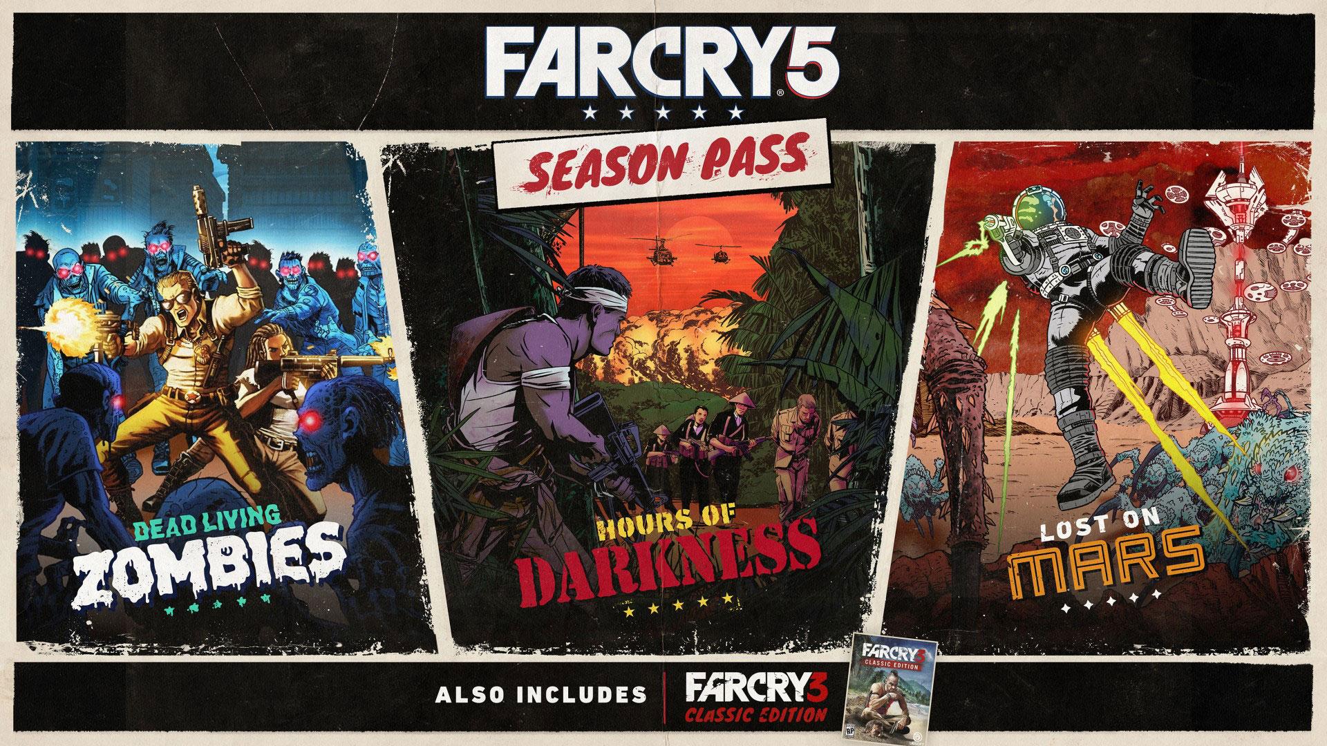 """Alle drei Zusatz-Inhalte für """"FarCry 5"""" sind Teil des Season-Passes und orientieren sich inszenatorisch an verschiedenen B-Movies. Welches Genre das noch ausstehende Add-On """"Dead Living Zombies"""" bedient, ist unschwer zu erkennen."""