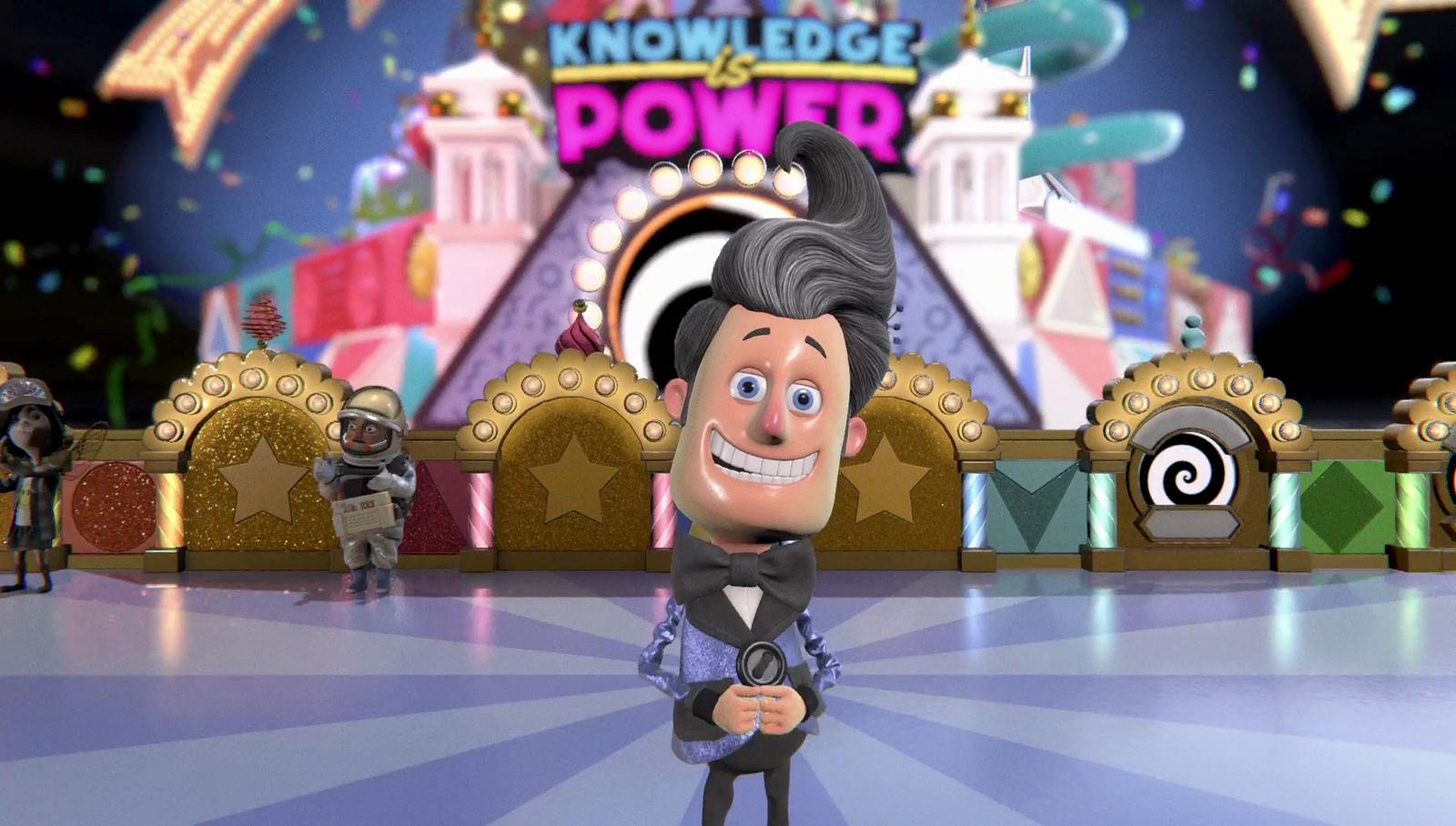 """Im Trivia-Game """"Knowledge is Power"""" geht es für die fünf Mitspieler nicht nur darum, Fragen zu beantworten – auch gegenseitiges Ablenken gehört zur Spielstrategie."""