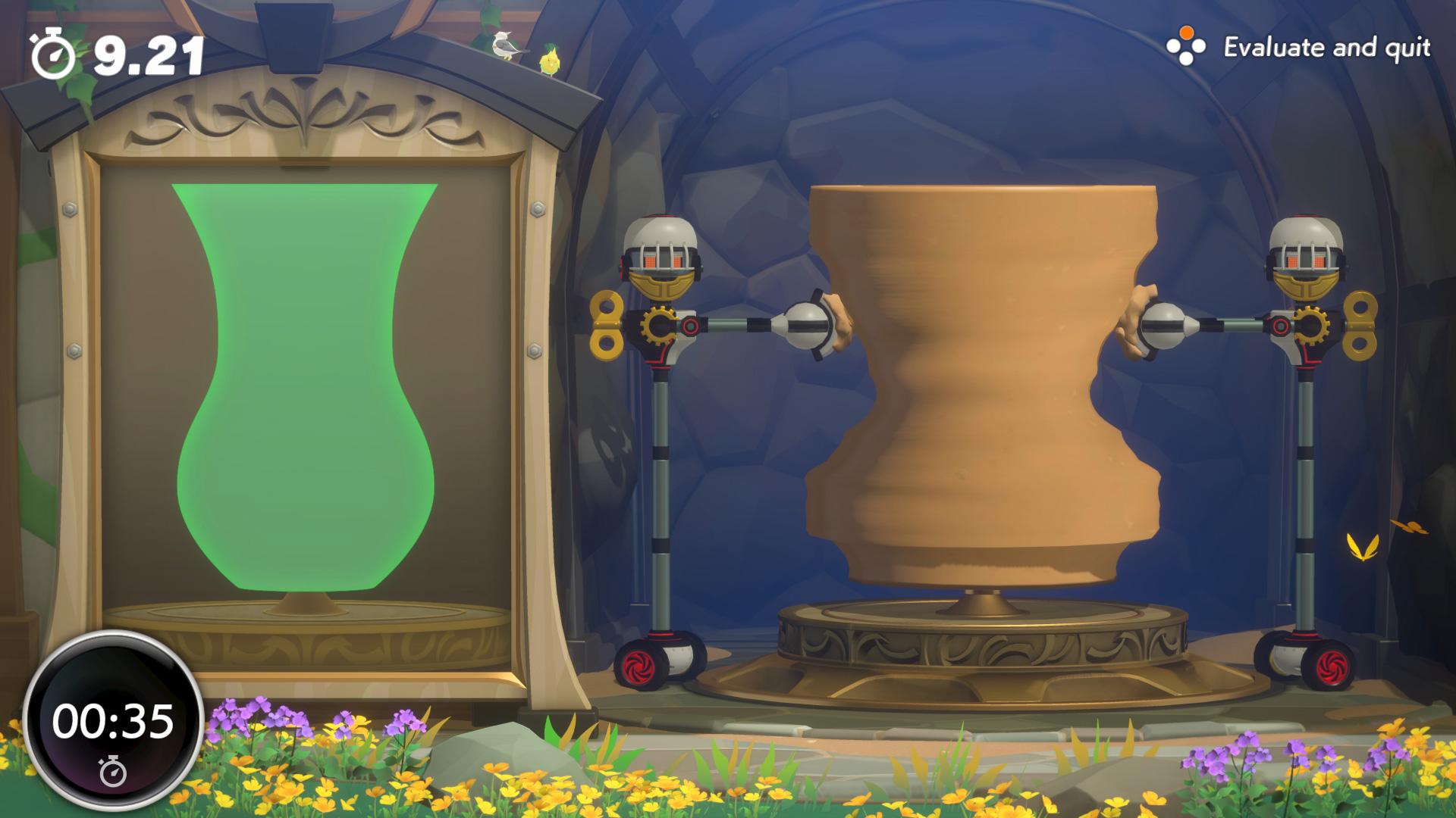 Hier soll der Spieler durch Zusammendrücken des Rings eine Vase formen, die dem vorgegebenen Bild links so nah wie möglich kommt.