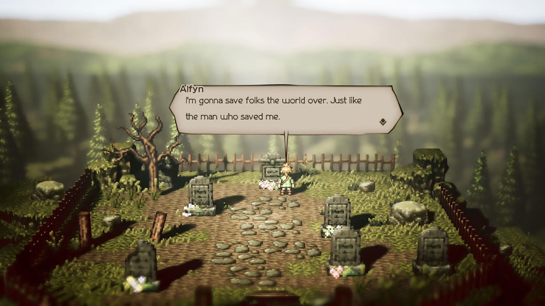 """Das mit der """"Unreal Engine 4"""" realisierte """"Octopath Traveler"""" paart 16-Bit-ähnliche Pixel-Texturen mit modernen Effekten wie Tiefenunschärfen."""