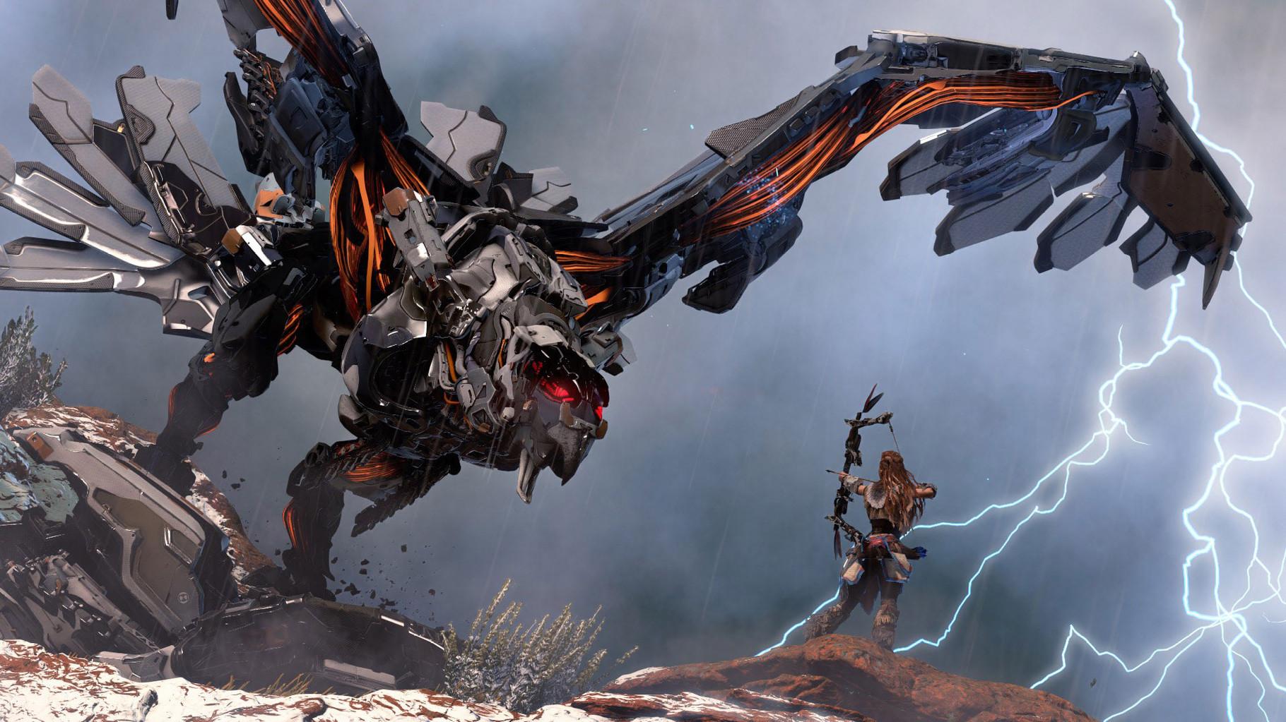 Horizon– Zero Dawn: Zu den großen Überraschungen zählte ein PS4-exklusives Action-Adventure, in dem eine junge Steinzeit-Jägerin gegen stählerne Bestien wie Roboter-Dinos,-Raubkatzen und riesenhafte Blech-Piepmätze kämpft.
