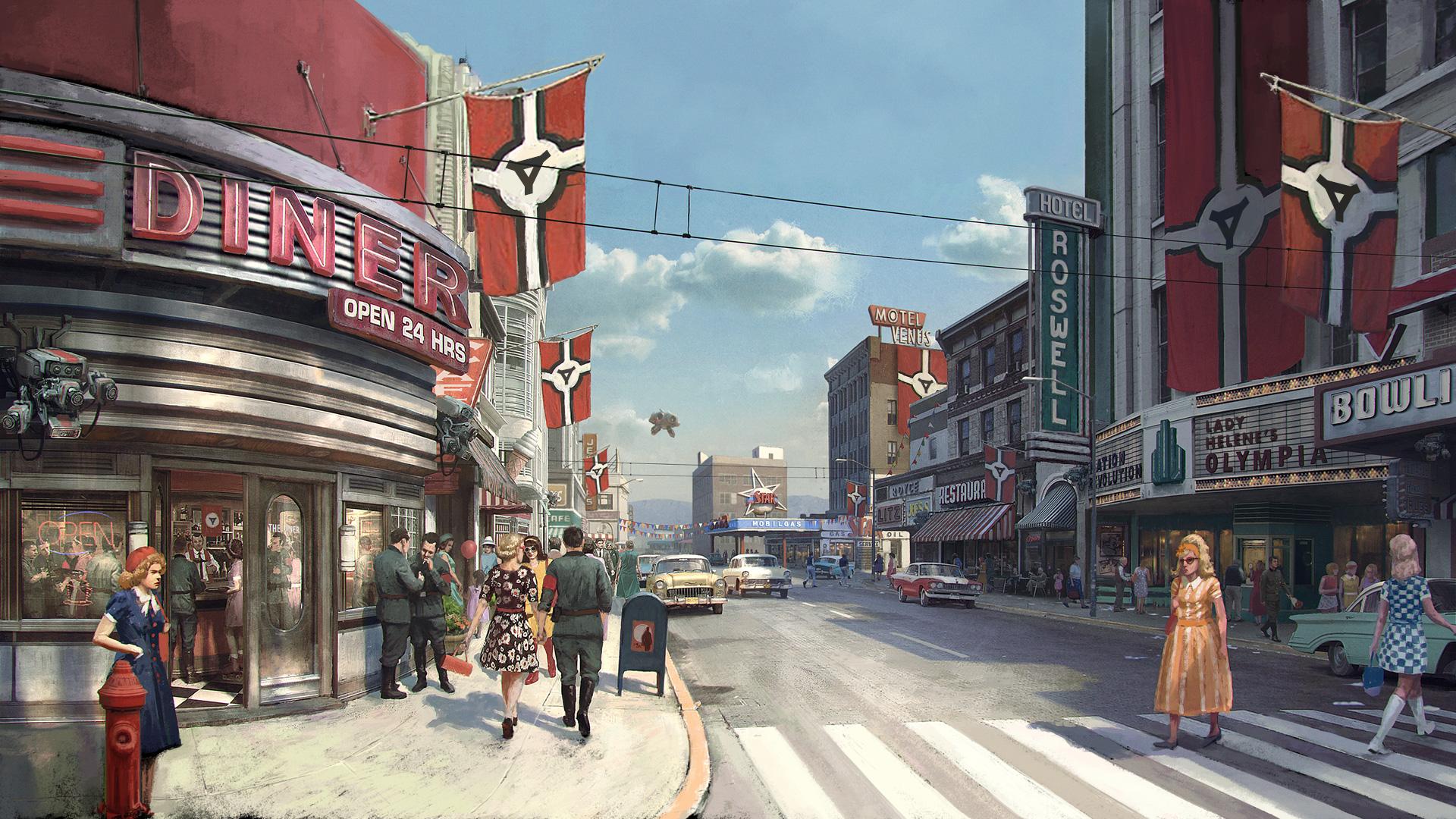 """Fantasie-Embleme statt Hakenkreuzen, um rechtlichem Ärger vorzubeugen: """"Wolfenstein: The New Colossus""""."""