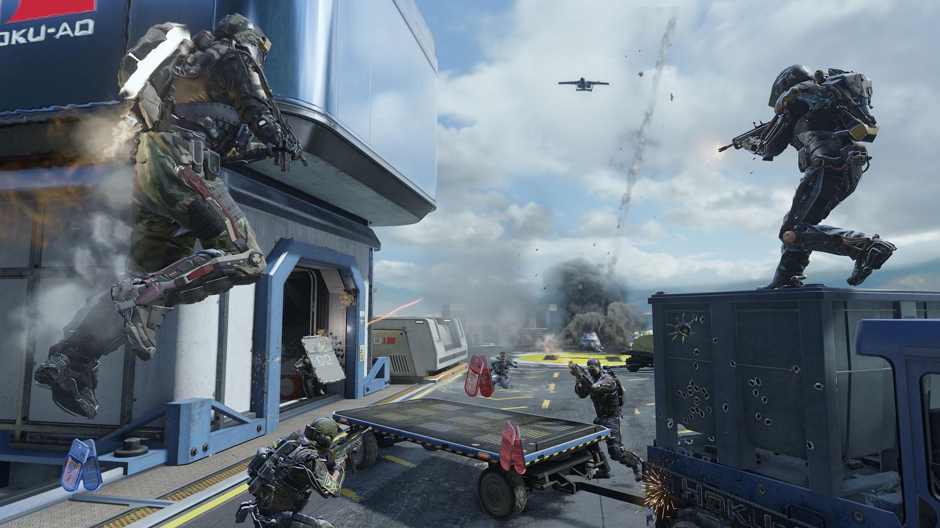 2014 wird es noch futuristischer: Der von einem virtuellen Kevin-Spacey-Abbild geleitete Rüstungs- und Söldner-Konzern Atlas will mit überlegener Militär-Technologie die Macht an sich reißen.