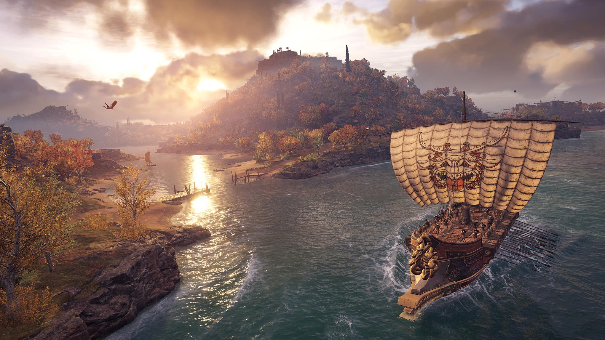 """Nehmen zum ersten Mal seit """"Black Flag"""" wieder einen wesentlichen Teil des Spiels ein: Cineastisch präsentierte Seeschlachten. Auf Kanonendonner muss man in der Antike allerdings verzichten - stattdessen gibt es Flammenpfeile und griechisches Feuer."""