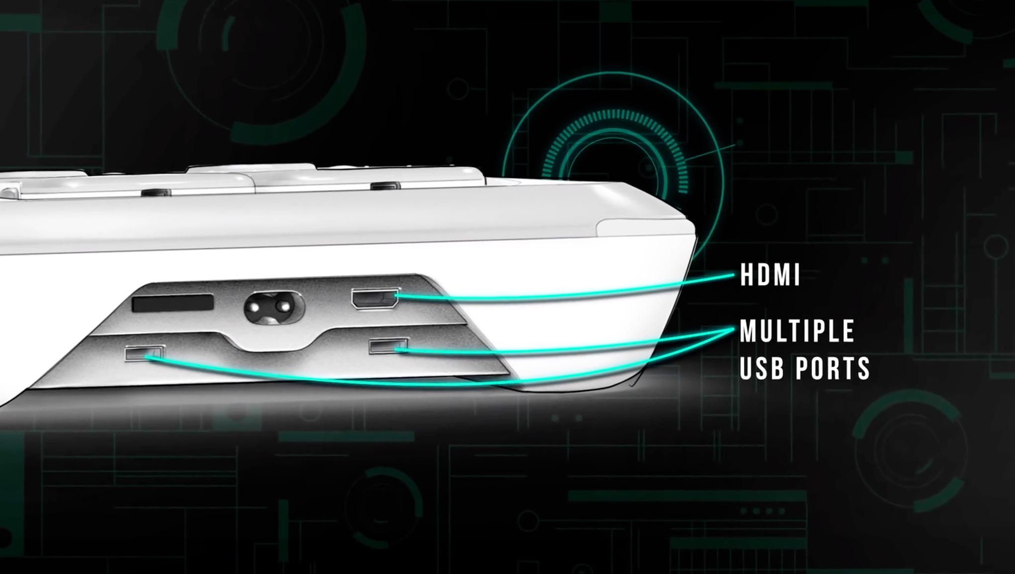 """Mehrere USB-Ports, ein HDMI-Ausgang und offenbar auch ein SD-Kartenslot: Die """"Amico"""" kommt mit zeitgemäßer Anschluss-Batterie."""