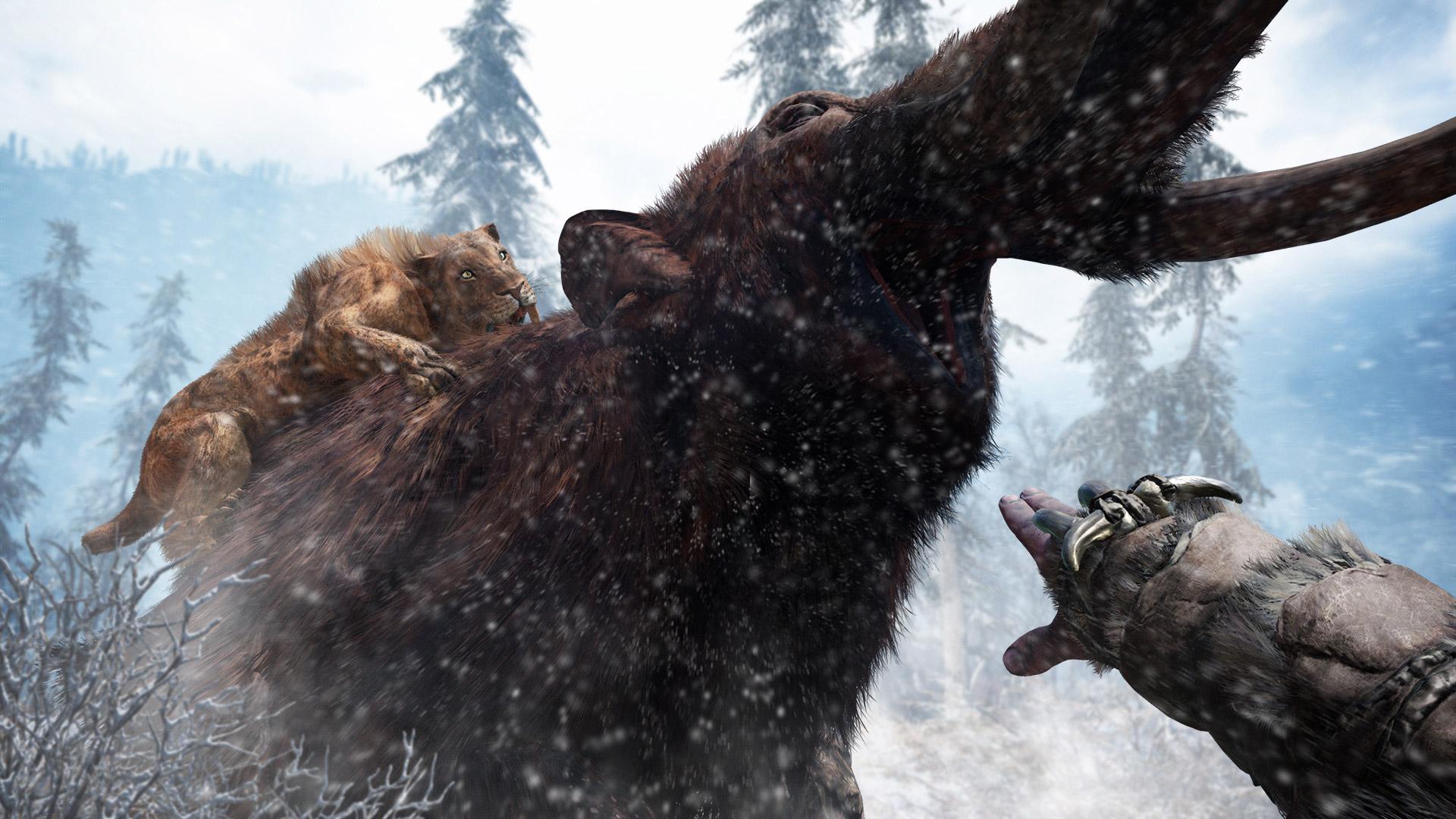 """Ich glaub, mich tritt ein Mammut: 2016 folgte mit """"FarCry Primal"""" der Sprung von der Shooter-Moderne in die Steinzeit. Die Spielmechanik blieb."""