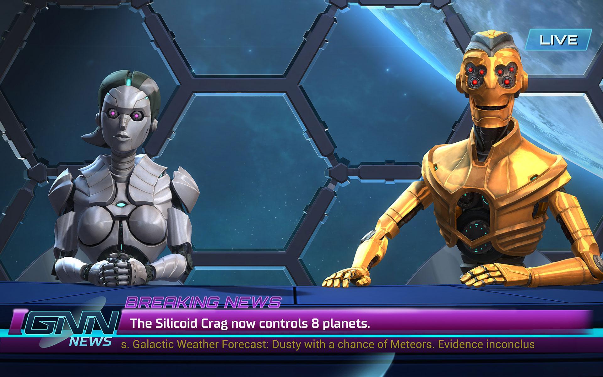 Nicht ganz objektiv: Diese Nachrichtensprecher freuen sich darüber, dass ihrem Heimat-Imperium ein paar zusätzliche Systeme in den Roboter-Schoß gefallen sind.
