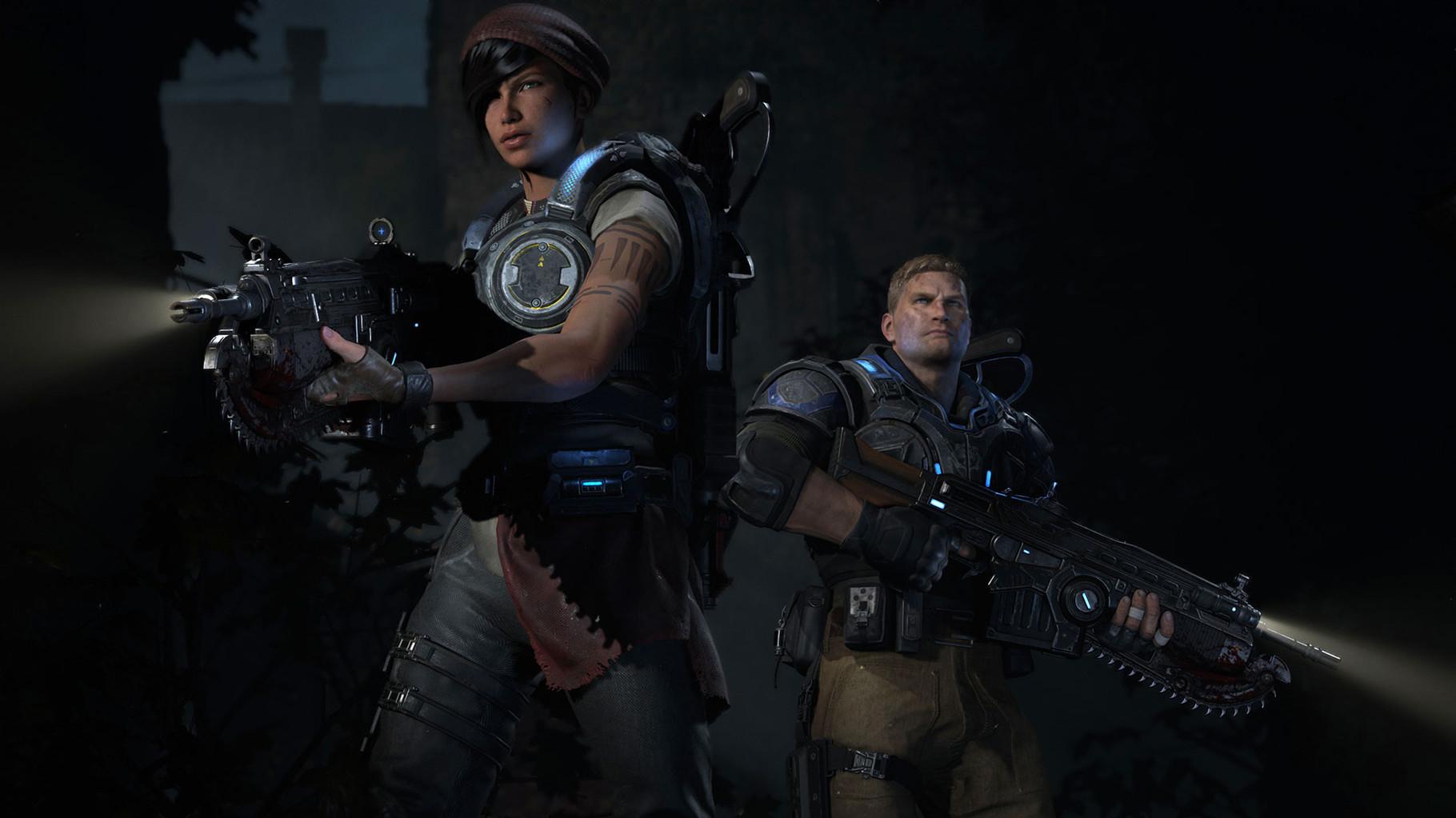 Gears of War 4: In der dunklen Umgebung waren kaum nennenswerte Details erkennbar, doch bis zum Erscheinen Ende 2016 kann sich noch einiges tun. Bis dahin trösten sich Serien-Fans mit der visuell aufgebohrten HD-Version des Xbox-360-Erstlings.