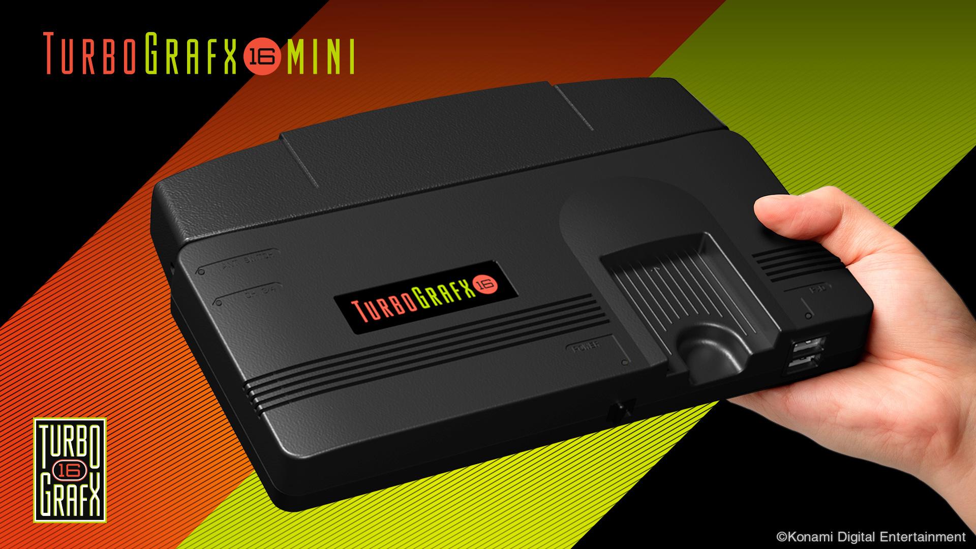 """Für die USA hat Konami die Konsolen-Neuauflage nach Vorlage der US-PC-Engine gestaltet und betitelt - der """"Turbo Grafx16"""". Überraschend: die Größe."""