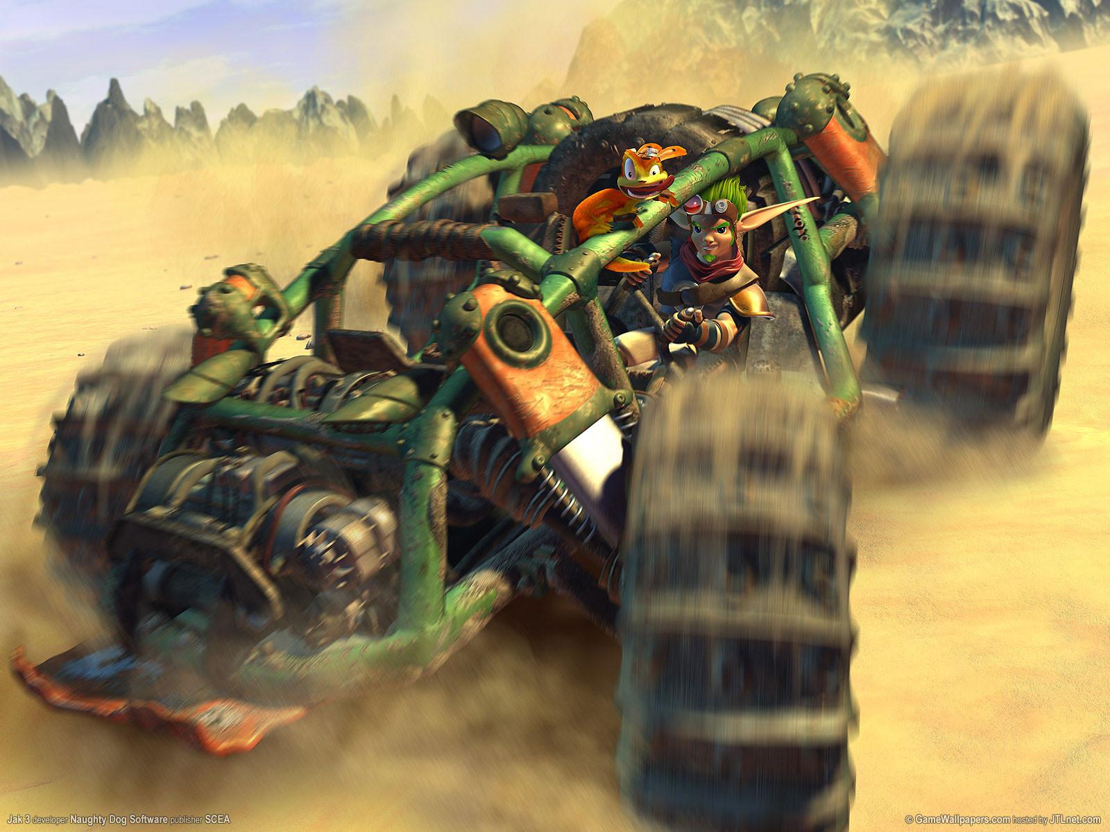 """Mit """"Jak 2"""" für die PS2 verwandelt Naughty Dog das Jump'n'Run-Adventure """"Jak & Daxter"""" 2003 in ein Action-Game: Jak und sein pelziger Sidekick fahren fette Geschütze auf und sind mit urigen Vehikeln in einer """"Mad Max""""-artigen Welt unterwegs."""
