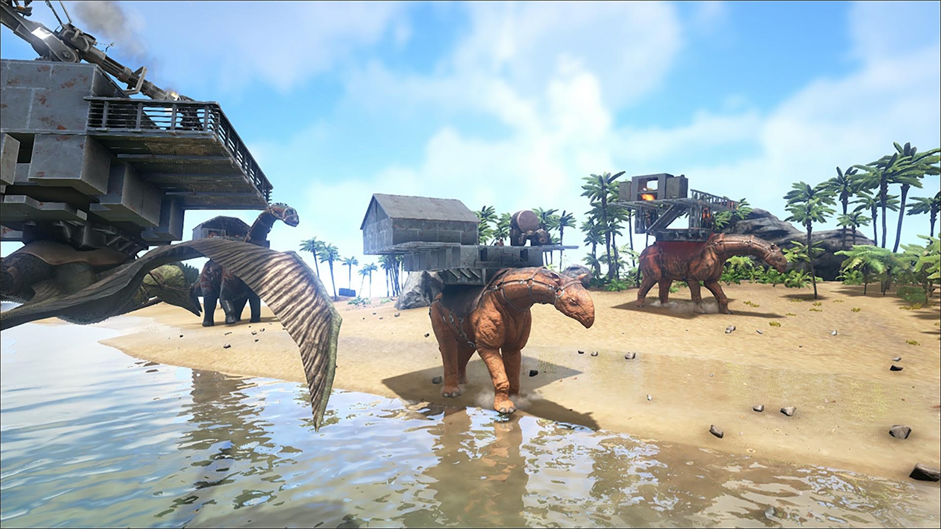 """In """"Ark: Survival Evolved"""" war das Spieler-Eigenheim noch auf dem Rücken gigantischer Echsen zu finden, für """"Atlas"""" verlegt hat man es jetzt auf die hohe See verlegt."""