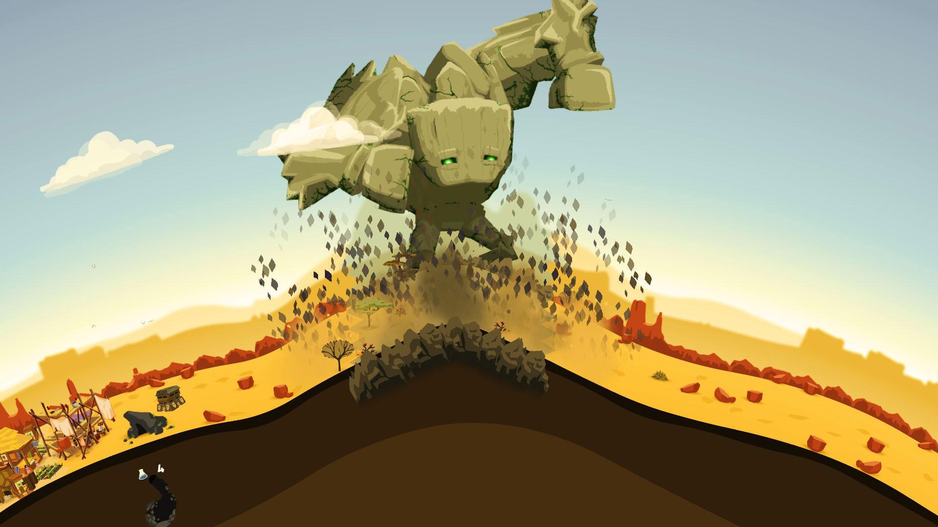 """Nicht ökologisch abbaubar, aber ökologisch wertvoll: Das Indie-Aufbau-Spielchen """"Reus"""" lässt den Spieler einen Titanen kontrollieren, der zuerst eine Welt erschafft und sie dann magisch belebt. (14.10. für PS4, XBO, PC="""