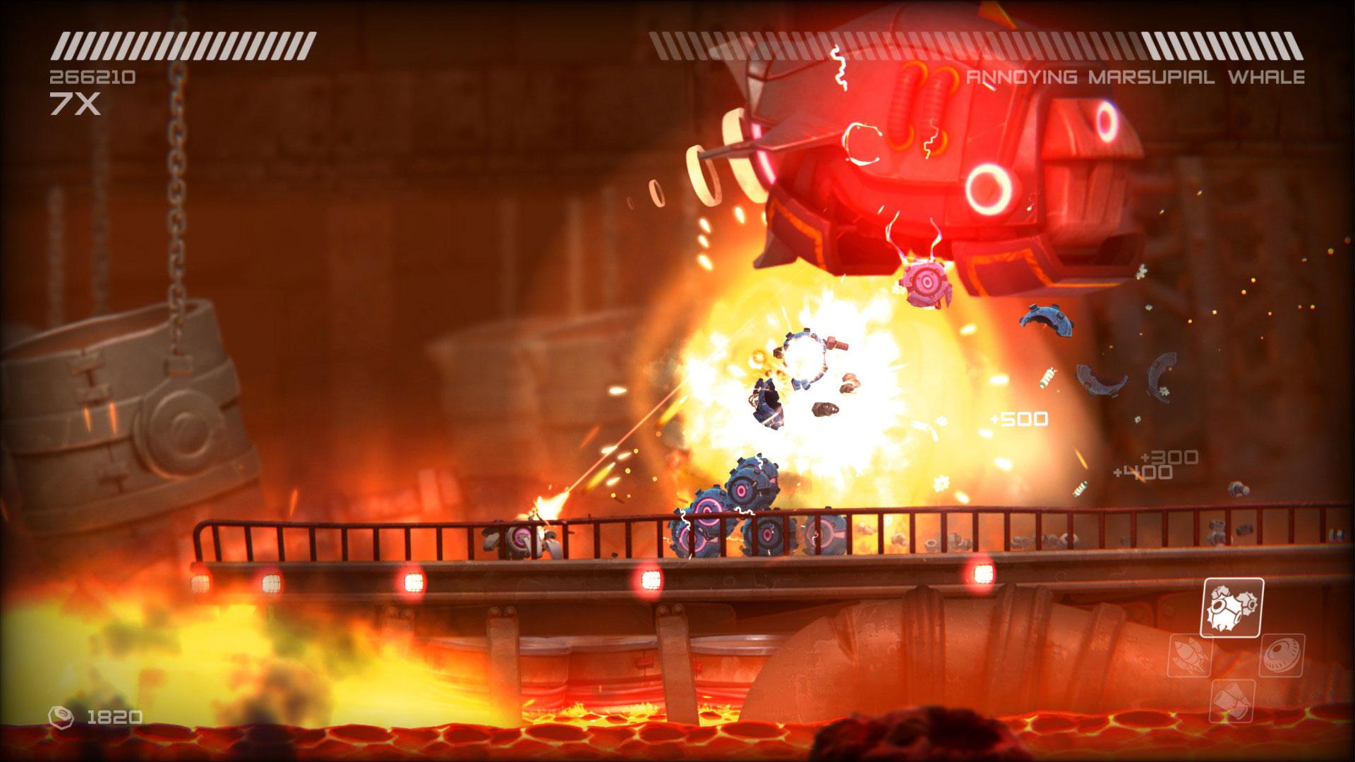 """Laut Entwickler Two Tribes ist """"RIVE"""" eine Hommage an 2D-Shooter aus der 8Bit- und 16Bit-Ära: Star ist ein kleiner Roboter, der sich ins Blechhirn seiner Widersacher hackt, um deren Fähigkeiten zu kapern • ab 13.09. für PC, PS4, Xbox One, WiiU"""