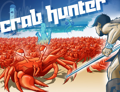 """Das einzige Element aus """"Crab Hunter"""", das ich nicht selber fabriziert habe: Das famose Titelbild zeichnete Wolfang Müller alias 'Wonz' von w.m.graphix."""