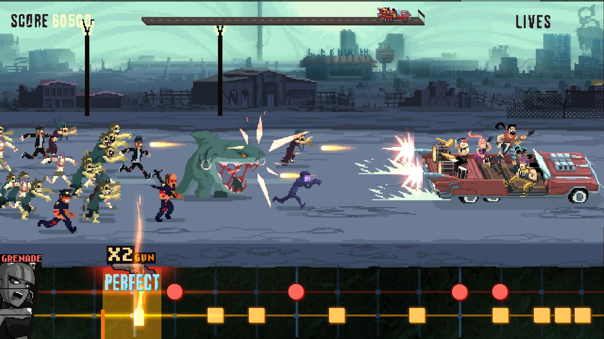 """Hartes E-Gitarren-Geschrubbe und gnadenlose Pixel-Action: """"Double Kick Heroes""""."""