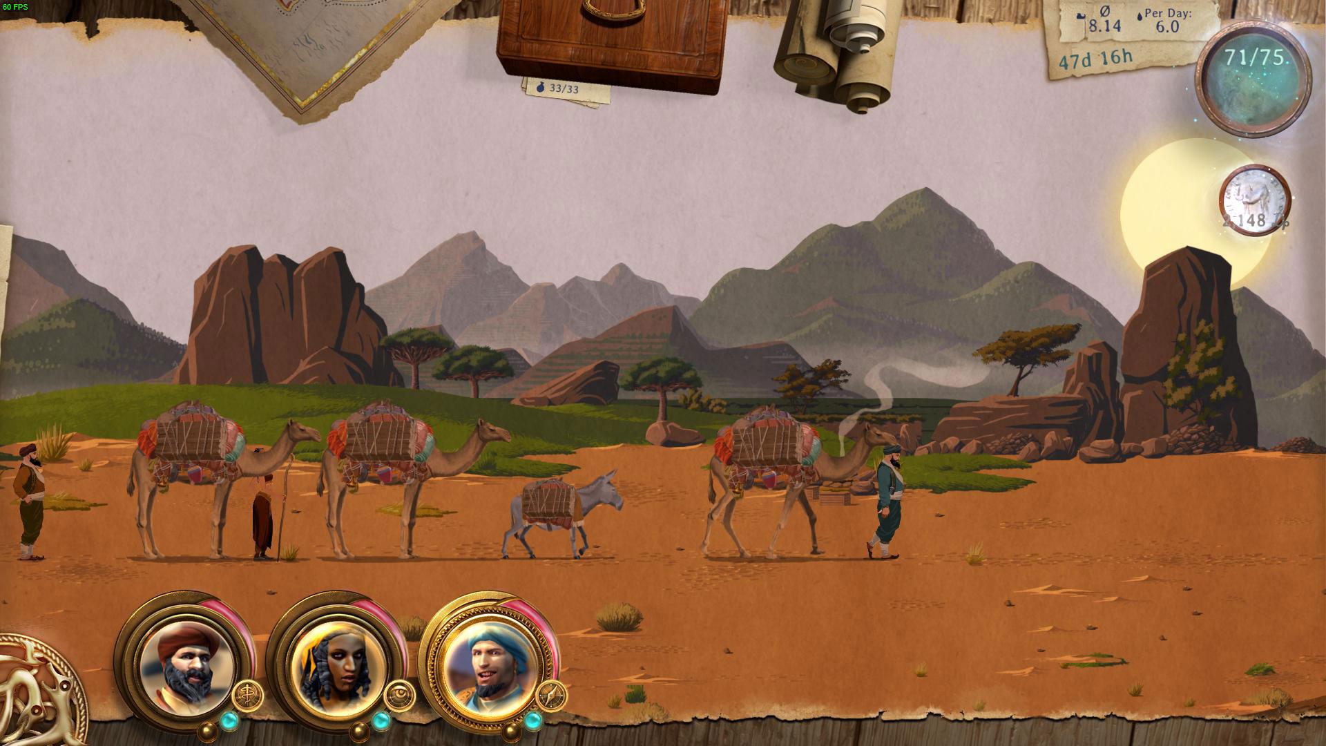 """Einfach mal Kamel sein dürfen –oder welche durch die Wüste lotsen: Als Mixtur aus automatisiertem 2D-Gelatsche, Dialog-Sammlung und verrollenspieltem Wüsten-Trip ist """"Carvan"""" perfekt für die Bespielung nebenbei. (7.10. für PC)"""