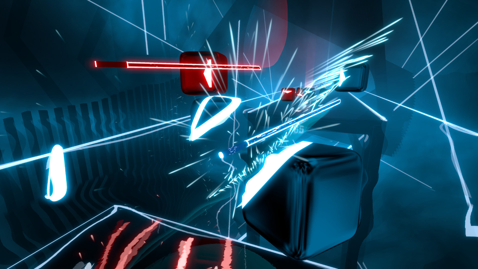 """Beliebtheits-Platz Nummer 3: Das virtuelle Lichtwert- und Rhythmus-Gefecht """"Beat Saber"""" für Oculus Rift und HTC Vive."""