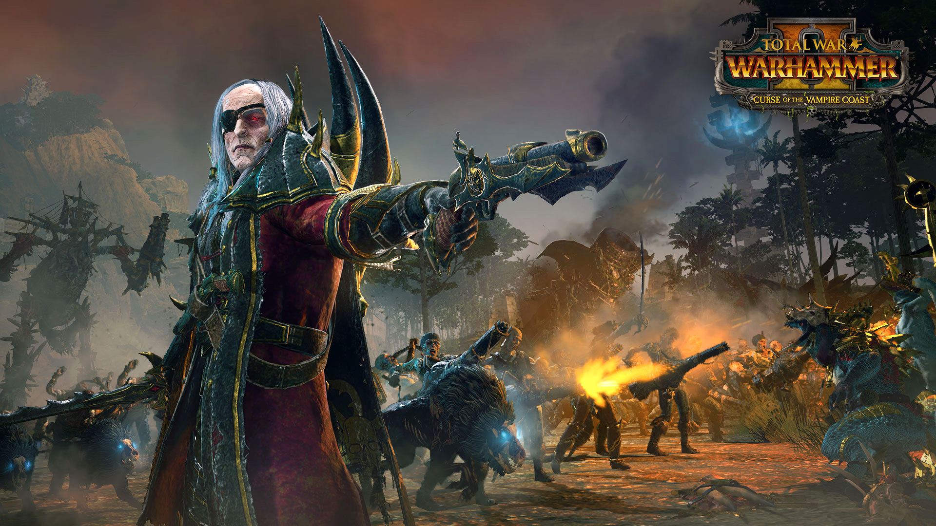 """Blutsaugende Piraten bitten zum Tanz: Die neue Erweiterung für """"Total War: Warhammer 2"""" lädt Fantasy-Feldherren am 8. November an die Vampirküste."""