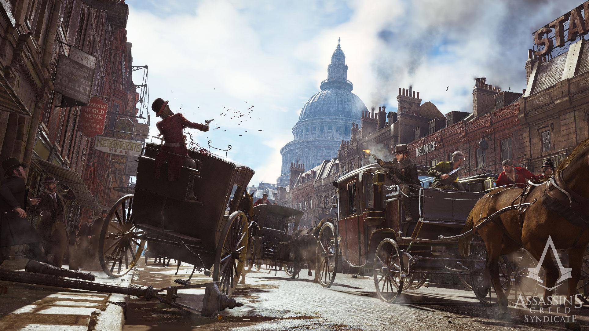 """Die Zeitsprünge vor """"Origins"""" führten weniger weit zurück: Das abgebildete """"Assassin's Creed Syndicate"""" spielt Ende des 19. Jahrhunderts, """"Assassin's Creed Unity"""" zur Zeit der französischen Revolution."""