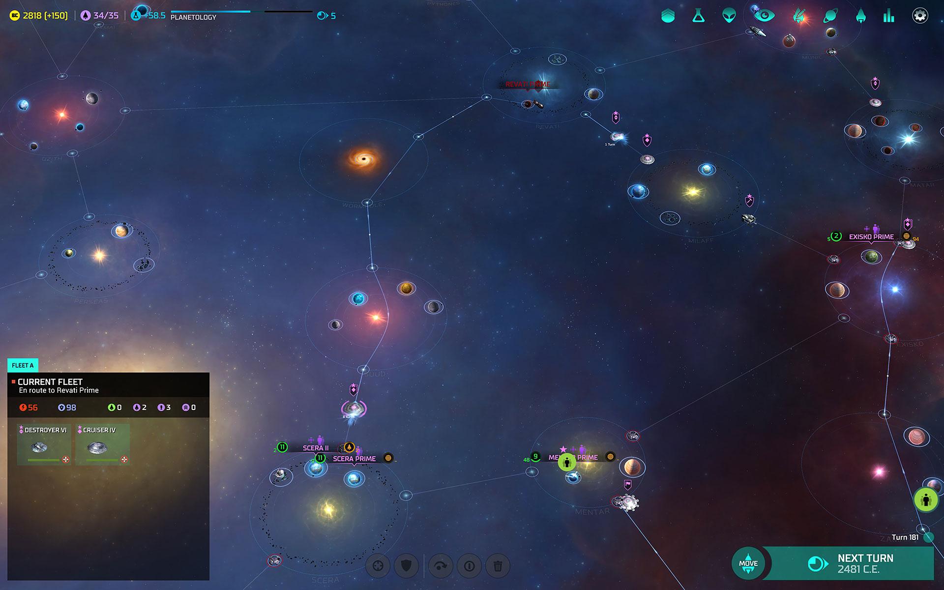 """Die Sternenkarte ist zwar schön bunt, wirkt aber zu beliebig und detailarm: Von einem Strategie-Kaliber wie """"Master of Orion"""" erwartet man 2016 mehr Details und vor allem mehr Sterne!"""