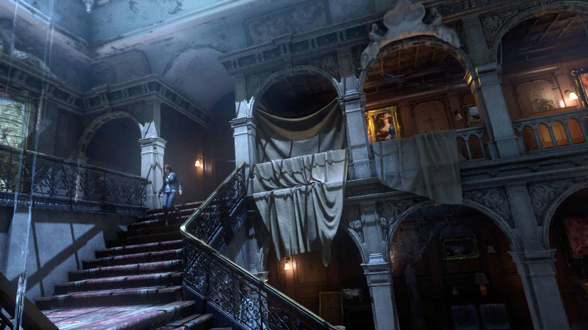 """In der aufgehübschten PS4-Fassung (4K-Modus für die PS4-Pro inklusive) von """"Rise of the Tomb Raider"""" dürfen wir Laras Familiensitz Croft-Manor in VR erforschen"""