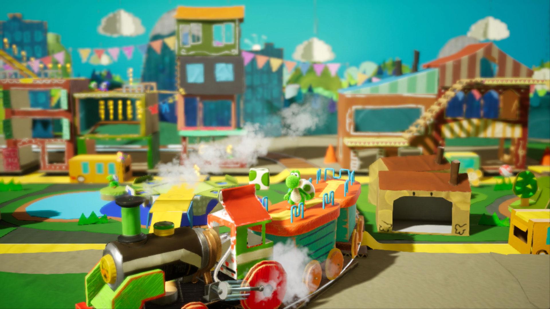 """Bewegt sich wieder durch eine Handarbeits-Welt: Marios kleiner Dino-Kumpel in """"Yoshi's Crafted World"""". Das Jump'n'Run-Abenteuer soll im Frühling 2019 zum Erkunden einladen."""