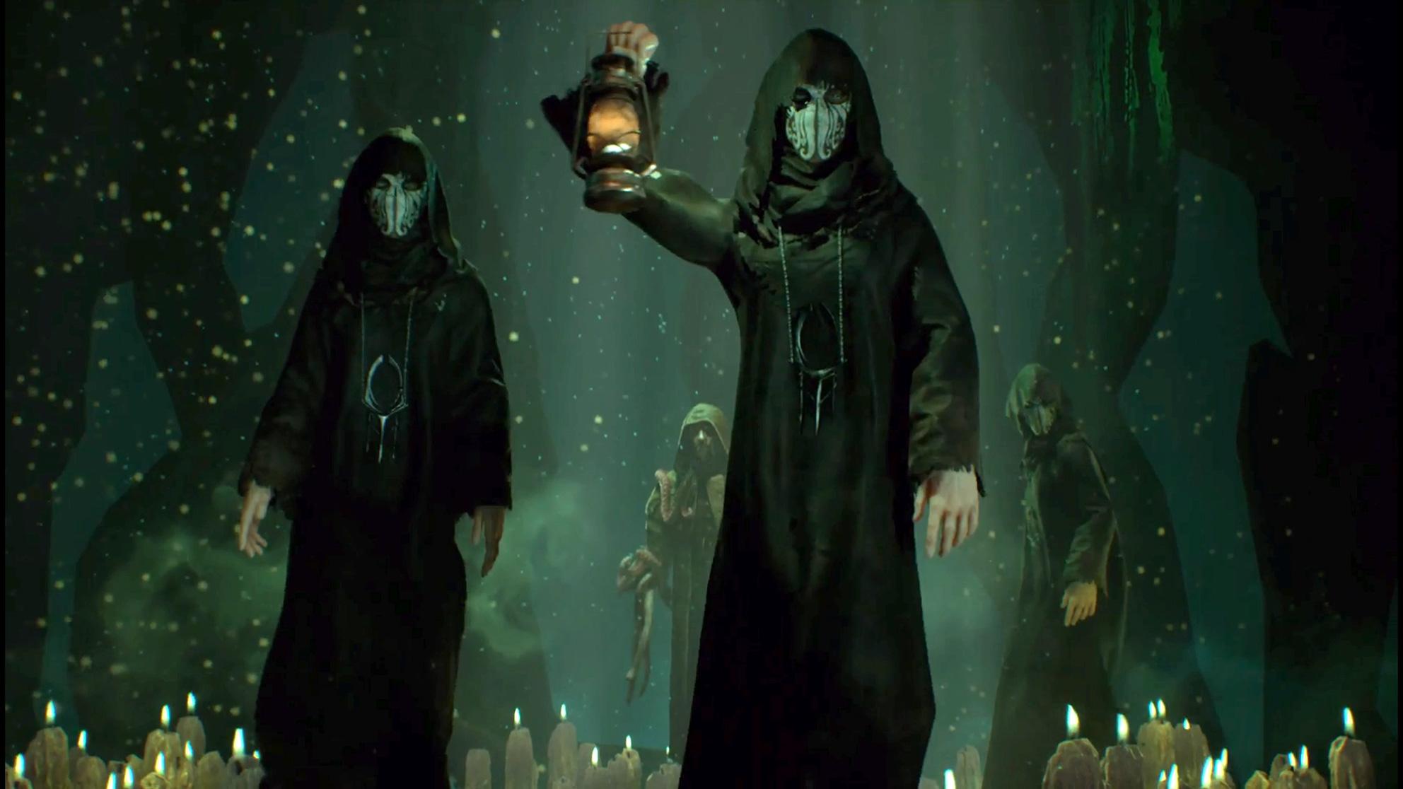 ... treffen sich die maskierten Mitglieder eines Cthulhu-Kults.