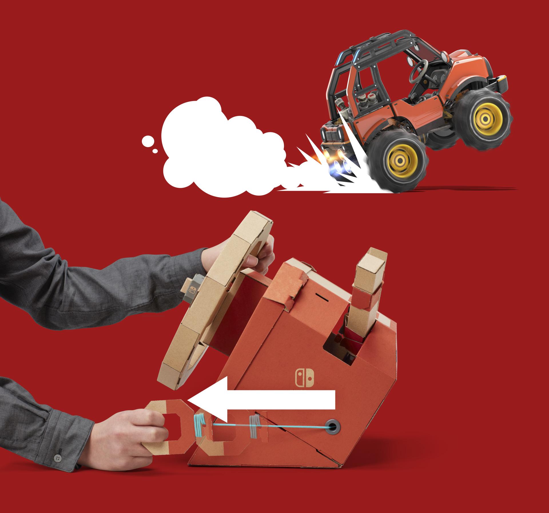 Mit dem Seilzug an der rechten Seite der Lenkrad-Säule verschafft man dem Buggie einen kurzen Geschwindigkeits-Boost.