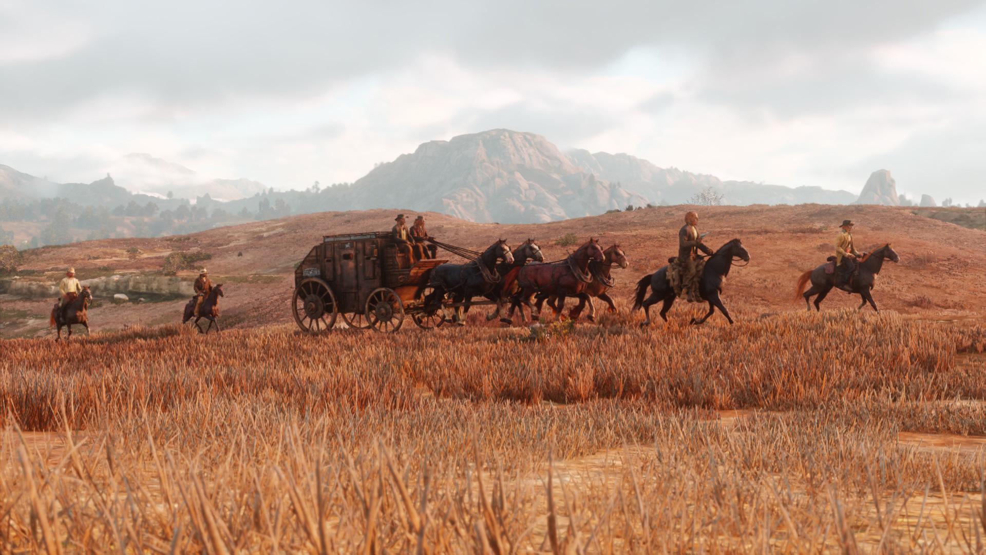"""Macht als Multiplayer-Gruppe gleich doppelt so viel Spaß: Postkutschen im Wilden Westen von """"Red Dead Online"""" ausrauben."""