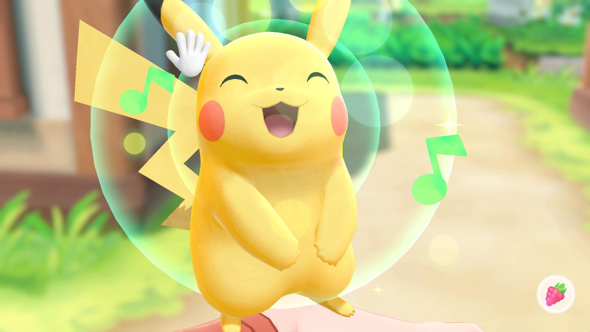 Lässt sich mithilfe der Bewegungssteuerung gerne bekuscheln: ein glücklicher kleiner Pikachu.