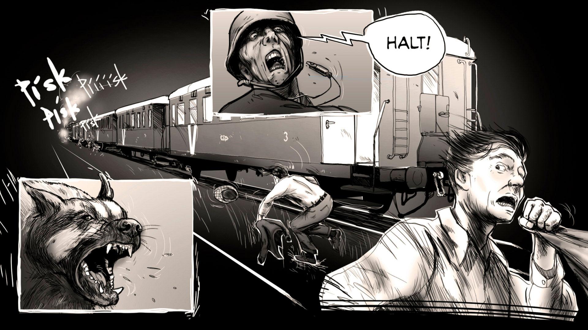 """Comic-Panels anstelle animierter Sequenzen: Um seine bedrückende Geschichte zu erzählen, greift """"Attentat 1942"""" auf verschiedene Medienformen und Genre-Elemente zurück. Darunter auch..."""
