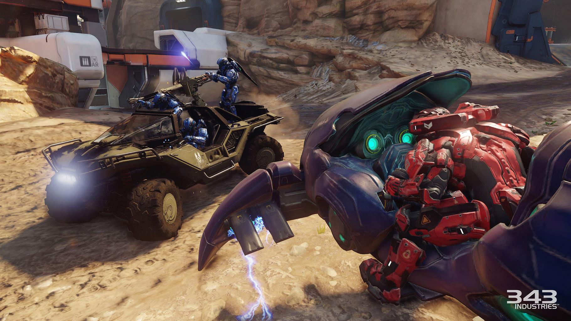 """Halo 5 – Guardians: Kein Masterchief und eine Vierspieler-Koop-Kampagne statt des üblichen Singleplayer-Abenteuers: Das fünfte """"Halo"""" bricht mit vielen Serien-Traditionen, sieht aber auch großartig aus –343 Industries hat sich mächtig ins Zeug gelegt."""