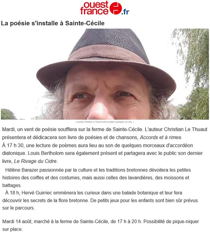 Ouest France 15 août 2018