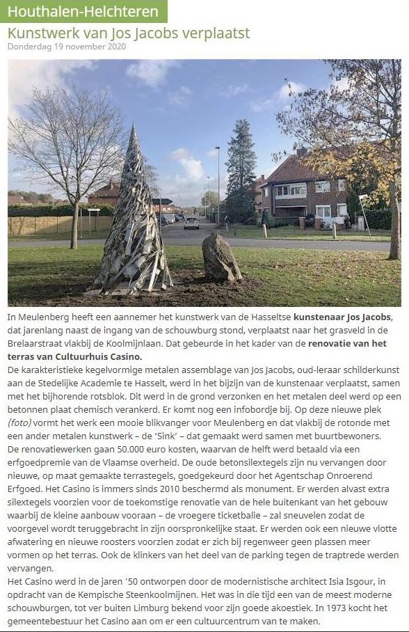 Jos Jacobs - Herinplanting beeld in Houthalen-Helchteren