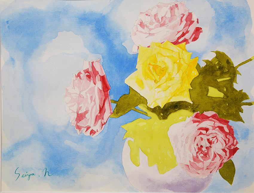薔薇の絵 中原誠也 オーシャンクリニック 水彩画
