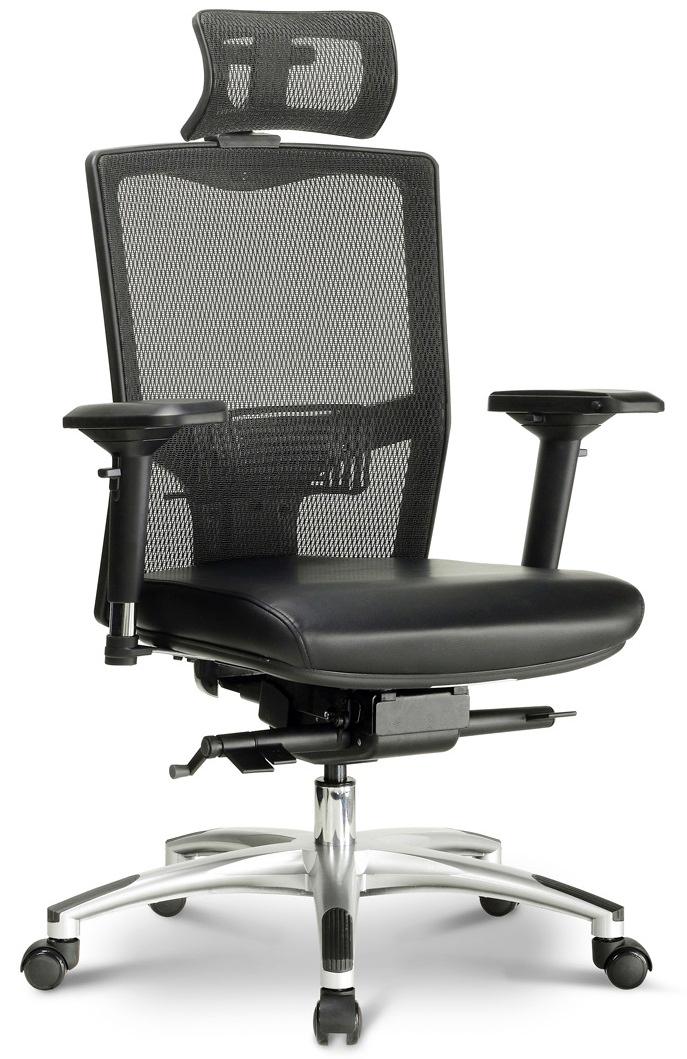 Ein ergonomischer Bürostuhl in Mesh-Optik freigestellt vor weißem Hintergrund