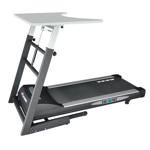 Eine Kombination aus Laufband und höhenverstellbarem Schreibtisch von WALKDESK Standezza vor einem weißem Hintergrund