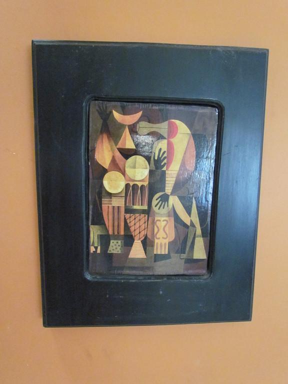 Marcos e madera reciclada con pintura abstracta encolada en madera o dibujos y acuarelas originales.