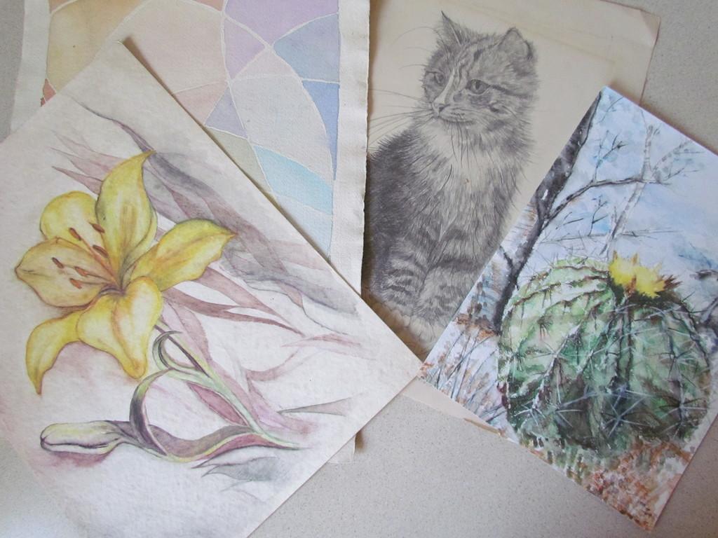 Dibujos y acuarelas en Papel Reciclado