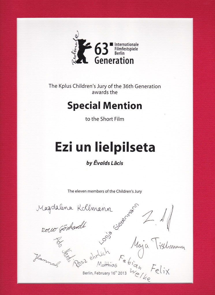 "Kplus Children`s Jury Special Mention to ""Eži un Lielpilsēta""(Hedgehogs and the City)"