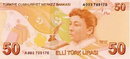 Fatma Aliye Topuz auf dem türkischen 50-Lira-Schein
