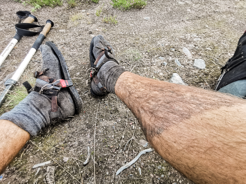 Stepping in the only mud hole on the whole trail today...