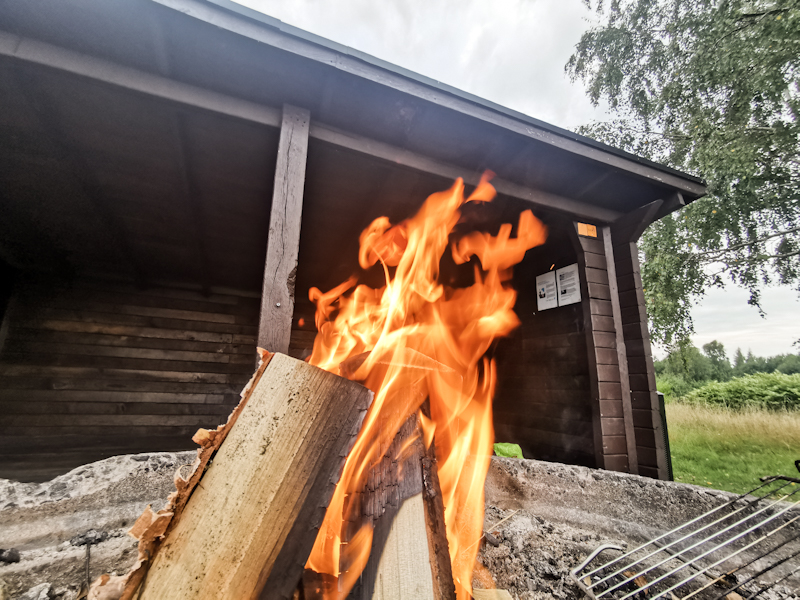 Fire going. A must when there's wood.