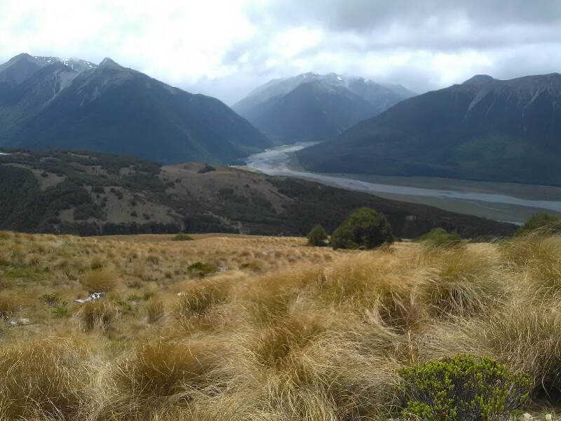 View from Lagoon Saddle. In the distance Arthurs Pass left, Goat Pass right