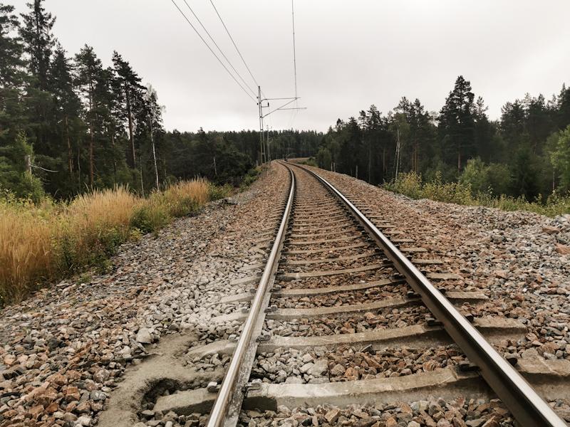 Crossing a railway track. Doesn't happen that often on E1
