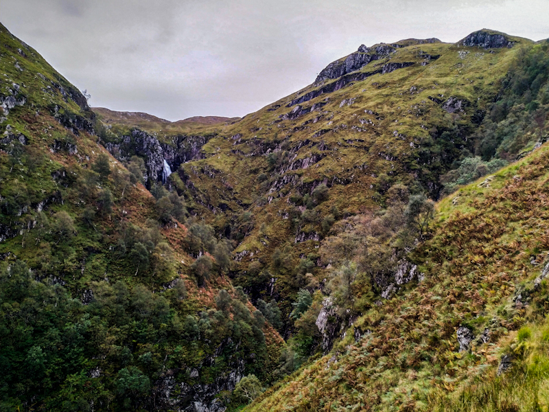 Falls of Glomach, the trail skirts along the exposed right flank of the gorge