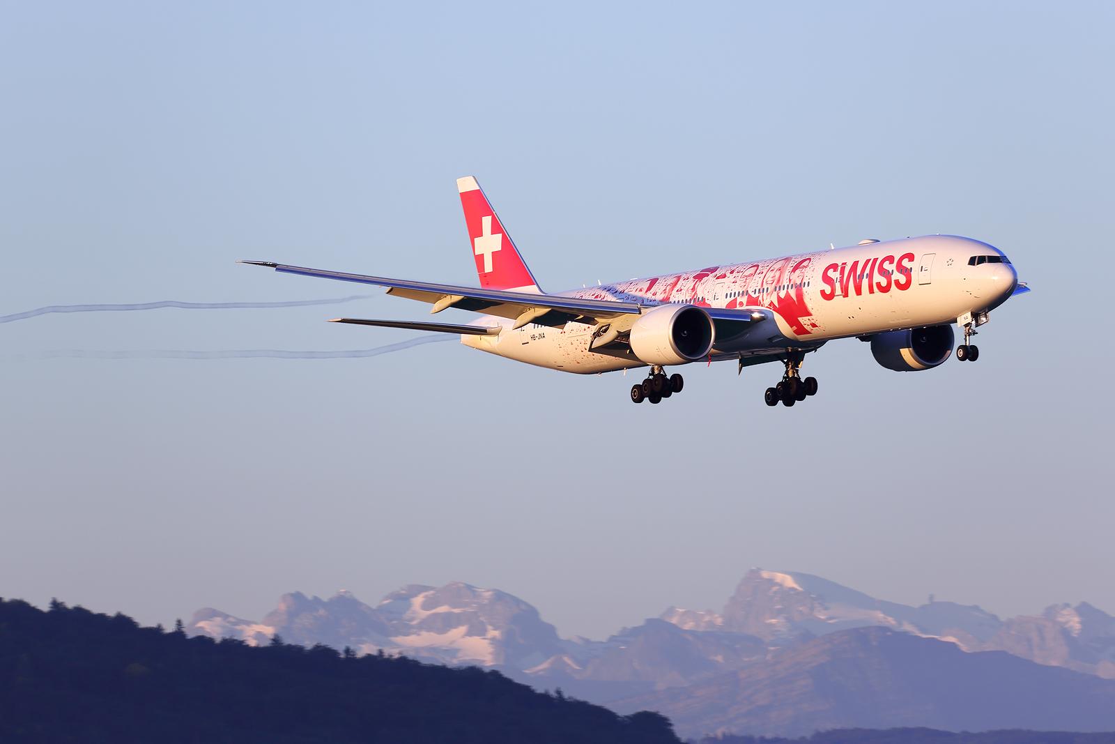 Faces of Switzerland HB-JNA, Swiss Boeing 777, Zürich-Kloten, Switzerland